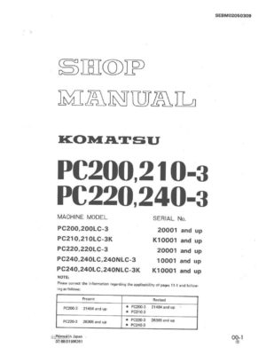 Komatsu PC200-3/PC210-3K/PC220-3/PC240-3/PC240-3K Excavator Workshop Repair Service Manual PDF download