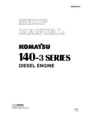 Komatsu ENGINE 140-3 SERIES Workshop Repair Service Manual PDF download