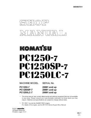 Komatsu PC1250-7 Diesel Excavator Workshop Repair Service Manual PDF download