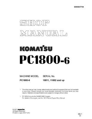 Komatsu PC1800-6 Diesel Excavator Workshop Repair Service Manual PDF download