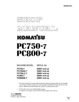 Komatsu PC750-7/PC800-7 Diesel Excavator Workshop Repair Service Manual PDF download