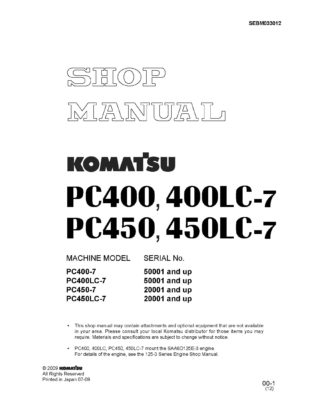 Komatsu PC400-7/PC450-7 Diesel Excavator Workshop Repair Service Manual PDF download