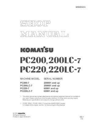 Komatsu PC200-7/PC220-7/ PC200LC-7L/PC220LC-7 Excavator Workshop Repair Service Manual PDF download