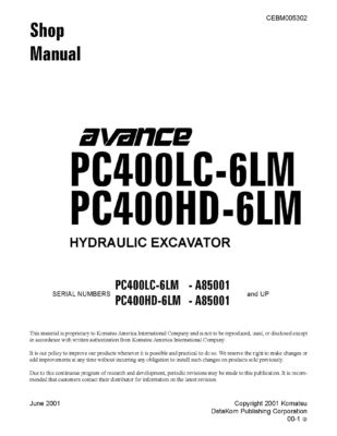 Komatsu PC400LC-6LM/ PC400HD-6LM Hydraulic Excavator Workshop Repair Service Manual PDF Download