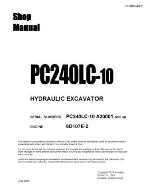 Komatsu PC240LC-10 Hydraulic Excavator Workshop Repair Service Manual PDF Download
