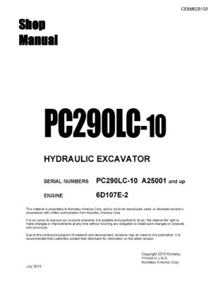 Komatsu PC290LC-10 Hydraulic Excavator Workshop Repair Service Manual PDF Download