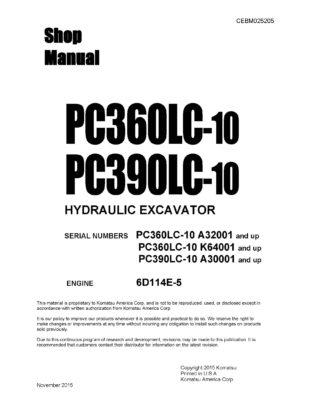 Komatsu PC360LC-10 PC390LC-10 Hydraulic Excavator Workshop Repair Service Manual PDF Download