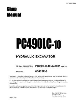 Komatsu PC490LC-10 Hydraulic Excavator Workshop Repair Service Manual PDF Download