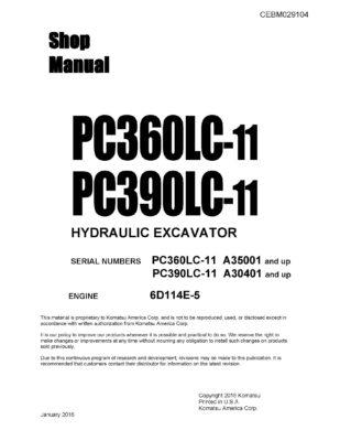 Komatsu PC360LC-11/ PC390LC-11 Hydraulic Excavator Workshop Repair Service Manual PDF Download