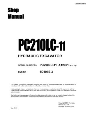 Komatsu PC210LC-11 Hydraulic Excavator Workshop Repair Service Manual PDF Download