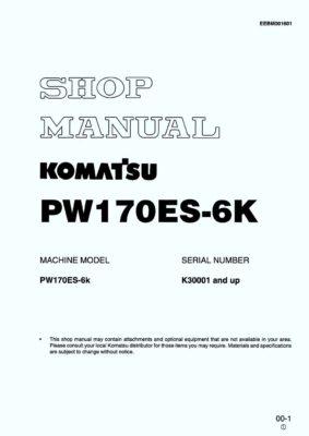 Komatsu PW170ES-6K Hydraulic Wheel Excavator Workshop Repair Service Manual PDF Download
