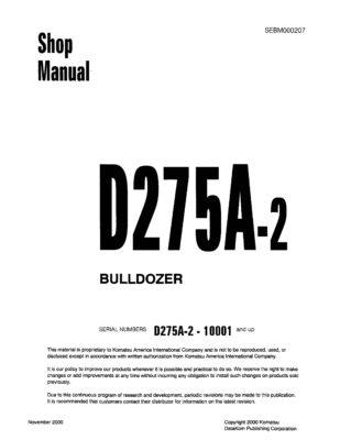 Komatsu Crawler Dozer D275A-2 Workshop Repair Service Manual PDF Download