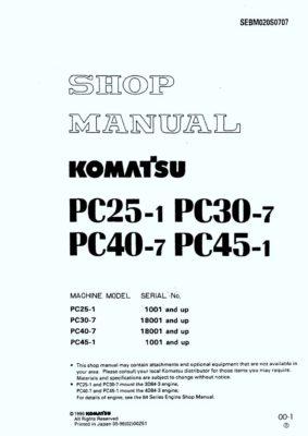 Komatsu PC25-1/PC30-7/ PC40-7/ PC45-1 Hydraulic Excavator Workshop Repair Service Manual PDF Download