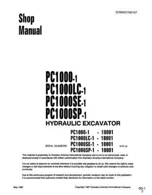 Komatsu PC1000-1/PC1000LC-1/PC1000SP-1/PC1000SE-1 Hydraulic Excavator Workshop Repair Service Manual PDF Download