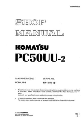 Komatsu PC50UU-2 Hydraulic Excavator Workshop Repair Service Manual PDF Download