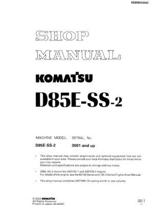 Komatsu Crawler Dozer D85E-SS-2 Workshop Repair Service Manual PDF Download