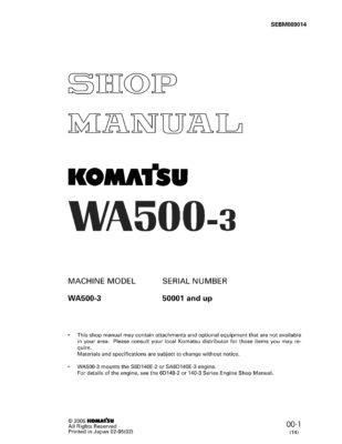 Komatsu WHEEL LOADER WA500-3 Workshop Repair Service Manual PDF Download