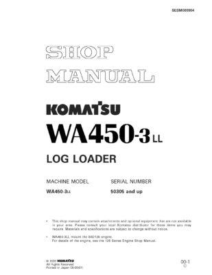 Komatsu WHEEL LOADER WA450-3LL Workshop Repair Service Manual PDF Download