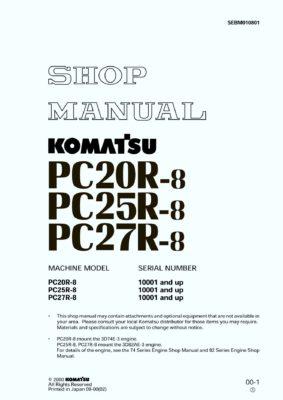 Komatsu PC20R-8 PC25R-8 PC27R-8 Hydraulic Excavator Workshop Repair Service Manual PDF Download