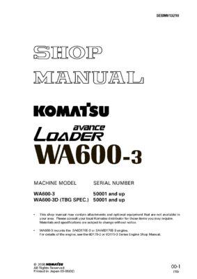 Komatsu WHEEL LOADER WA600-3/ WA600-3D Workshop Repair Service Manual PDF Download