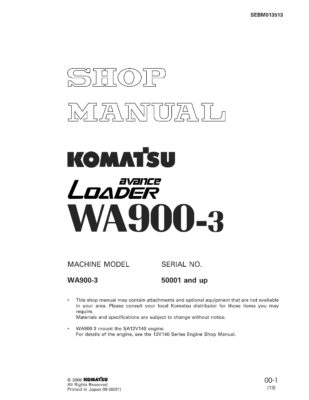Komatsu WHEEL LOADER WA900-3 Workshop Repair Service Manual PDF Download