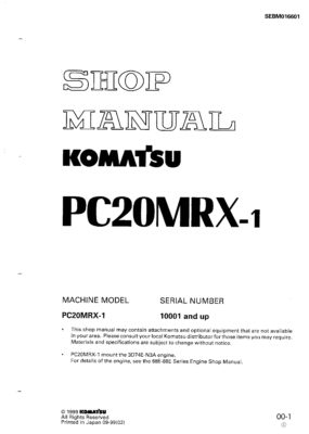 Komatsu PC20MRX-1 Hydraulic Excavator Workshop Repair Service Manual PDF Download