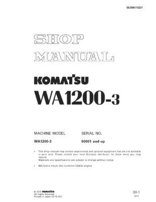 Komatsu WHEEL LOADER WA1200-3 Workshop Repair Service Manual PDF Download