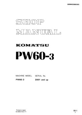 Komatsu PW60-3 Hydraulic Wheel Excavator Workshop Repair Service Manual PDF Download