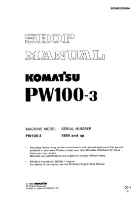 Komatsu PW100-3 Hydraulic Wheel Excavator Workshop Repair Service Manual PDF Download