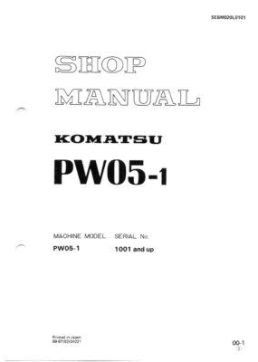 Komatsu PW05-1 Hydraulic Wheel Excavator Workshop Repair Service Manual PDF Download
