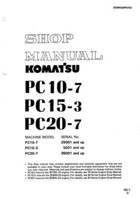 Komatsu PC10-7/PC20-7 25001 Hydraulic Excavator Workshop Repair Service Manual PDF Download