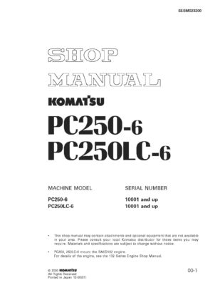 Komatsu PC250-6 PC250LC-6 Hydraulic Excavator Workshop Repair Service Manual PDF Download