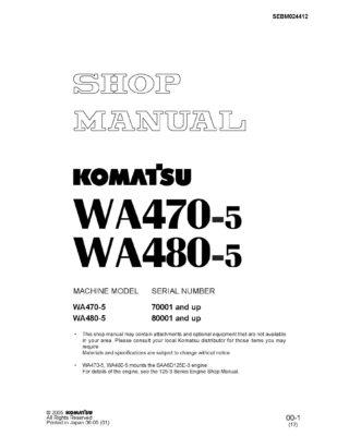 Komatsu WHEEL LOADER WA470-5 / WA480-5 Workshop Repair Service Manual PDF Download