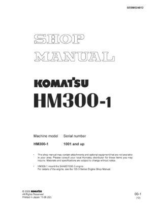 Komatsu ARTICULATED DUMP TRUCK HM300-1 Workshop Repair Service Manual PDF Download