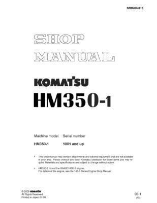 Komatsu ARTICULATED DUMP TRUCK HM350-1 Workshop Repair Service Manual PDF Download