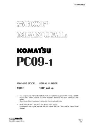 Komatsu PC09-1 Hydraulic Excavator Workshop Repair Service Manual PDF Download