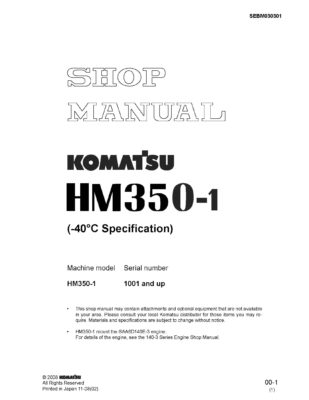Komatsu ARTICULATED DUMP TRUCK HM350-1 Workshop Repair Service Manual PDF Download ( -40 C Specification)