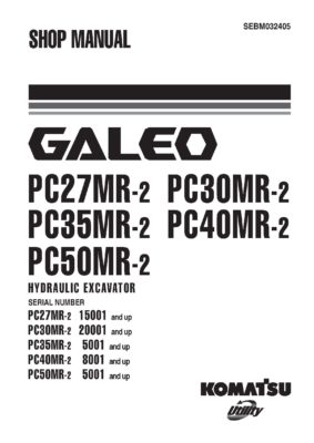 Komatsu PC27MR-2/ PC30MR-2/ PC35MR-2/ PC40MR-2/ PC50MR-2 Hydraulic Excavator Workshop Repair Service Manual PDF Download