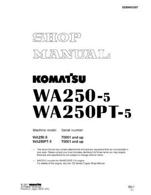 Komatsu WHEEL LOADER WA250-5/ WA250PT-5 Workshop Repair Service Manual PDF Download
