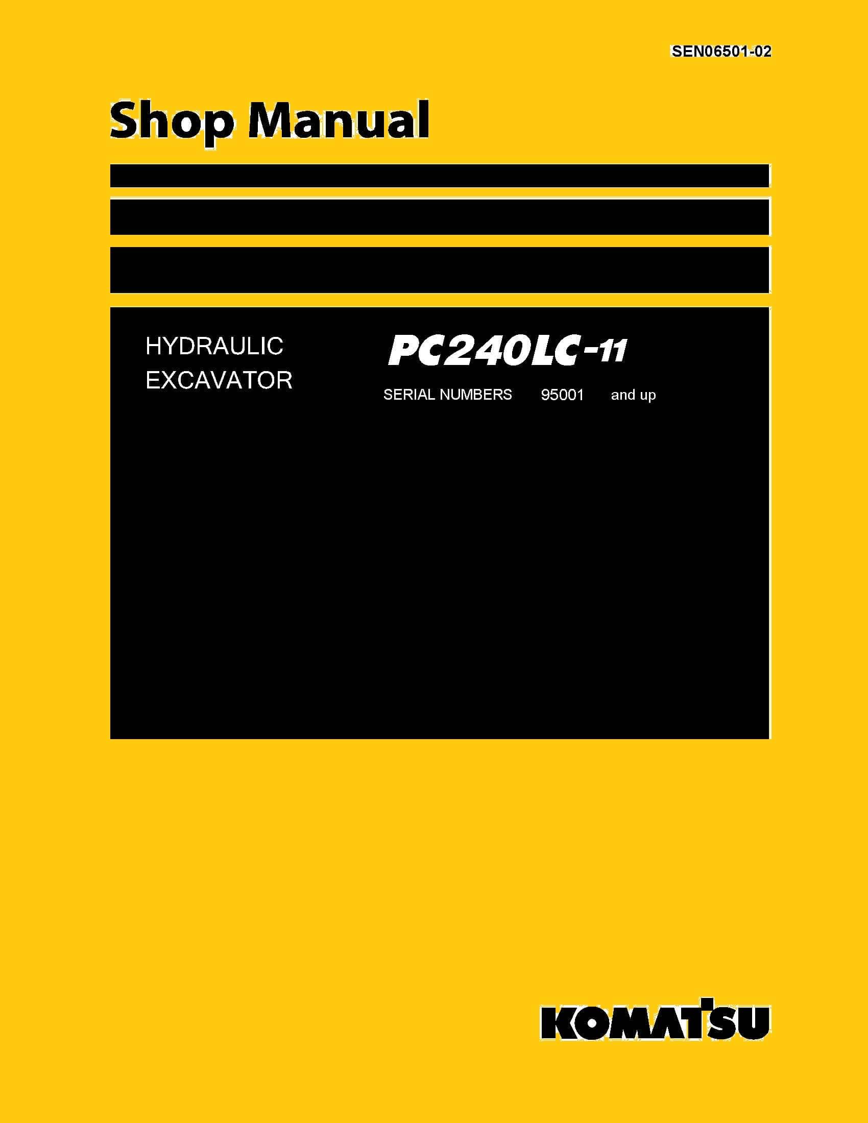 komatsu pc240lc 11 hydraulic excavator workshop repair. Black Bedroom Furniture Sets. Home Design Ideas