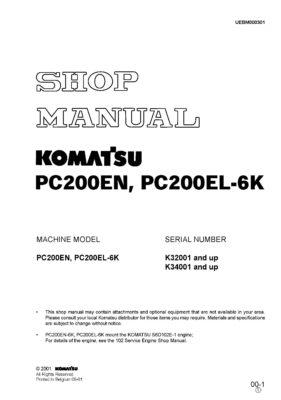 Komatsu PC200EN, PC200EL-6K Hydraulic Excavator Workshop Repair Service Manual PDF Download