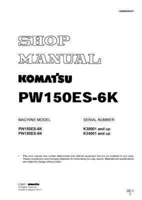 Komatsu PW150ES-6K Hydraulic Wheel Excavator Workshop Repair Service Manual PDF Download