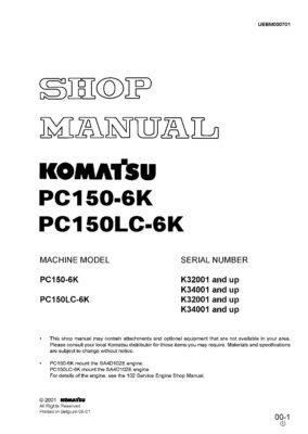 Komatsu PC150-6K/ PC150LC-6K Hydraulic Excavator Workshop Repair Service Manual PDF Download