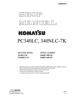 Komatsu PC340LC, 340NLC-7K Hydraulic Excavator Workshop Repair Service Manual PDF Download