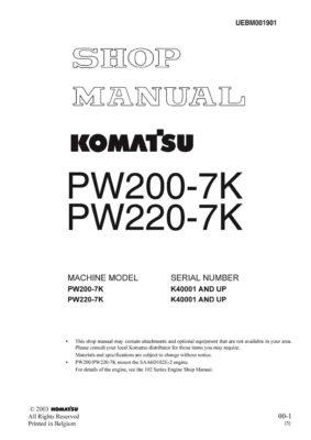 Komatsu PW200-7K /PW220-7K Hydraulic Wheel Excavator Workshop Repair Service Manual PDF Download