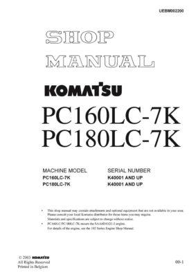Komatsu PC160LC-7K PC180LC-7K Hydraulic Excavator Workshop Repair Service Manual PDF Download