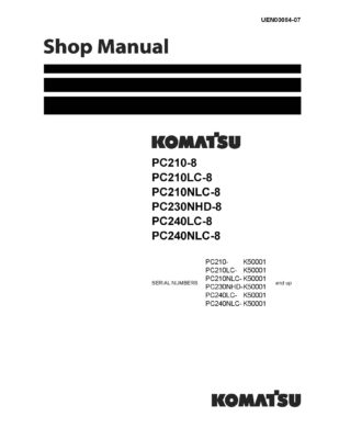 Komatsu PC210-8/ PC230-8/PC240-8 Hydraulic Excavator Workshop Repair Service Manual PDF Download