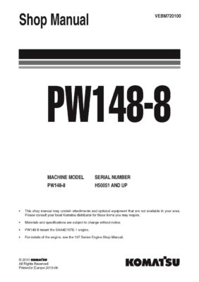 Komatsu PW148-8 Hydraulic Wheel Excavator Workshop Repair Service Manual PDF Download