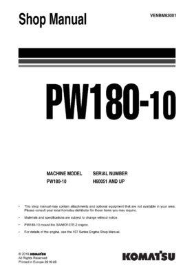 Komatsu PW180-10 Hydraulic Wheel Excavator Workshop Repair Service Manual PDF Download