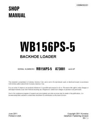 Komatsu WB156PS-5 BACKHOE LOADER Workshop Repair Service Manual PDF Download